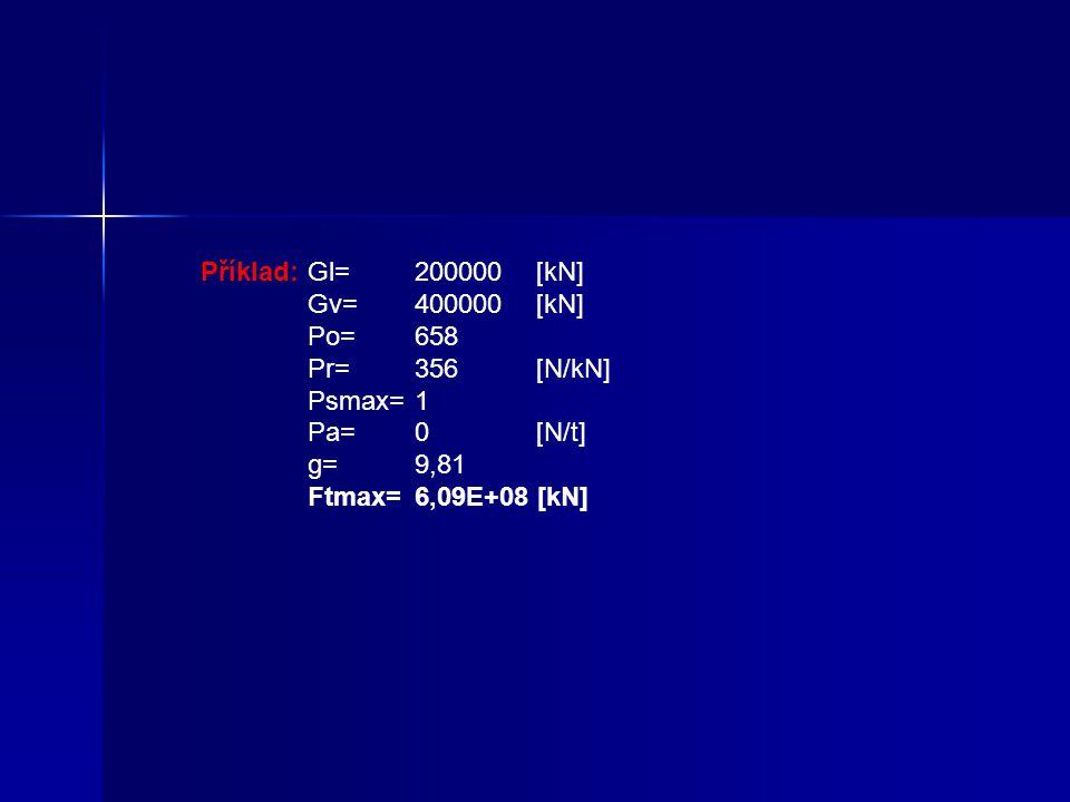 Příklad: Gl= 200000 [kN] Gv= 400000 [kN] Po= 658 Pr= 356 [N/kN] Psmax= 1 Pa= 0 [N/t]